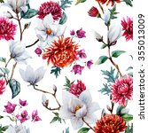watercolor pattern magnolia... | Shutterstock . vector #355013009