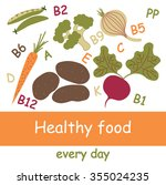 healthy food set. vegetables... | Shutterstock .eps vector #355024235