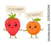 vector happy flat fruits with... | Shutterstock .eps vector #355024544