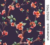 watercolor floral pattern... | Shutterstock . vector #355027931