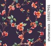 watercolor floral pattern... | Shutterstock . vector #355027931
