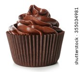 chocolate cupcake isolated on...