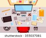 flat desktop workspace scene... | Shutterstock . vector #355037081