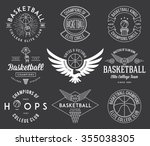 basketball badges and crests... | Shutterstock .eps vector #355038305