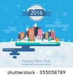 winter landscape. set 4 small... | Shutterstock .eps vector #355058789