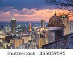 Kobe, Japan city skyline from Kitano historic district. - stock photo