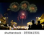 a happy family watching... | Shutterstock . vector #355061531