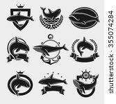 whale label and icons set.... | Shutterstock .eps vector #355074284