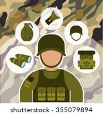 armed forces concept  with... | Shutterstock .eps vector #355079894