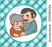 grandparents concept with... | Shutterstock .eps vector #355080104