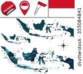 vector map of indonesia with... | Shutterstock .eps vector #355084841