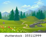 path across a vegetative ... | Shutterstock .eps vector #355112999