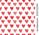 seamless hand drawn hearts...   Shutterstock .eps vector #355122509
