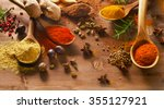 spices mix on a wooden... | Shutterstock . vector #355127921