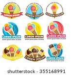 set of modern vector ice cream... | Shutterstock .eps vector #355168991