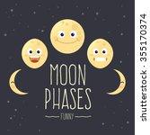 funny set of cartoon moon... | Shutterstock .eps vector #355170374
