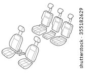 car seats outline isometric... | Shutterstock .eps vector #355182629