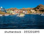 view of copacabana on titicaca... | Shutterstock . vector #355201895