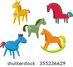colorful wooden horses set. toy ...