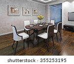 oval dining table for six... | Shutterstock . vector #355253195