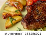 grilled steak with baked potato ... | Shutterstock . vector #355256021