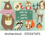 set with cute animals | Shutterstock .eps vector #355267691