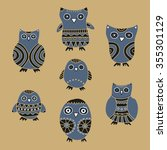 cute owls vector illustration.... | Shutterstock .eps vector #355301129