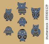 cute owls vector illustration.... | Shutterstock .eps vector #355301129