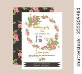 floral poppy retro vintage... | Shutterstock .eps vector #355309481
