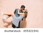 adorable couple on a sunny day... | Shutterstock . vector #355321541