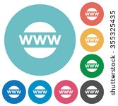 flat domain icon set on round...
