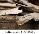 exhibit of dried fish tails in...