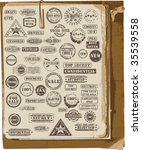 Vector collection of grunge rubber stamps on old paper - stock vector
