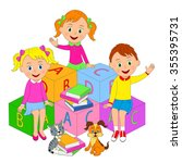 boy and girls sit on the cubes... | Shutterstock .eps vector #355395731