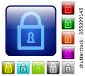 set of locked padlock color...