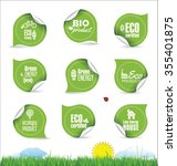eco organic label tag collection | Shutterstock .eps vector #355401875