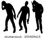 three happy drunken men    Shutterstock .eps vector #355409615