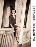 fashion retro styled woman... | Shutterstock . vector #35541889