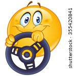 driving emoticon holding a... | Shutterstock .eps vector #355420841