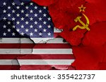 flags of usa and soviet union... | Shutterstock . vector #355422737