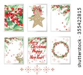 merry christmas set for holiday ... | Shutterstock . vector #355422815