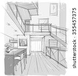 sketch drawing of modern... | Shutterstock .eps vector #355457375