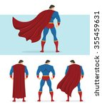 rear view of superhero with red ... | Shutterstock .eps vector #355459631