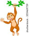cartoon monkey hanging in tree   Shutterstock .eps vector #355469759