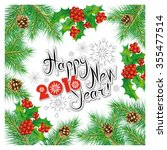 happy new year postcard with... | Shutterstock .eps vector #355477514