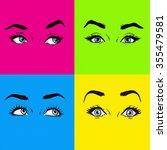 pop art eyes cover design.... | Shutterstock . vector #355479581