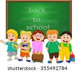 a small group of kids school... | Shutterstock . vector #355492784