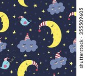 good night seamless pattern.... | Shutterstock .eps vector #355509605