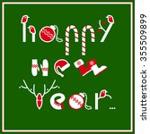 happy new year greeting card... | Shutterstock .eps vector #355509899