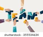 teamwork concept. typographic... | Shutterstock .eps vector #355534634